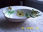 Oval Footed Centerpiece Serving Bowl white with yellow flowers and green leaves