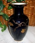 Beautiful Cobalt Blue Vase with Gold Decoration ~ Simply Elegant