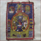 SMALL ANTIQUE TIBET THANKA PAINTING BUDDHA SIGNS OF ZODIAC