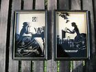 Vintage 2 reversed painted glass Buckbee Brehm shadow box silhouettes love lette
