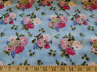 NORTHCOTT IRISH MIST COTTON QUILTING FABRIC BLUE FLORAL 44 W BY THE YARD