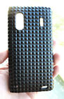 For HTC EVO Design 4G Black Pyramid Leather Phone Case Hard Cover Skin +Film