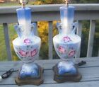 2 ANTIQUE OLD HAND PAINTED BLUE PINK ROSES CHINA BRASS 28
