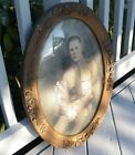 ANTIQUE WOOD PICTURE FRAME OVAL GOLD ORNATE GESSO CONVEX GLASS w/ SOLDIER PHOTO