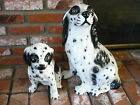 Rare Italian Ceramic Porcelain Vintage Pair of Black and White Setter Dogs Large