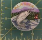 Alaska Magnet 3D gold pan style Fisherman with Salmon - Combine