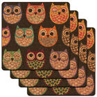 Colorful Owls Cute Owl Pattern Low Profile Cork Coaster Set