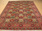 7x11 Persian Oriental Sarouk Garden Design Birds Deers Hand Knotted Red Area Rug