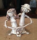 Original Vintage Dino Bencini Tennis Couple Clay Art Figure Italy Signed Doubles