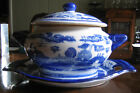 Blue and White Antique Heavy Ironstone China Soup Tureen & matching Platter