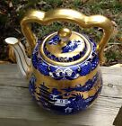 BEAUTIFUL EARLY 19th Century ENGLISH COAL PORT TEA POT BLUE WILLOW PATTERN
