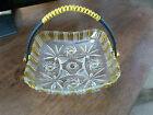 Cut Glass Clear Handled Basket - Yellow accents - Beautiful pattern