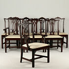Set of Eight Chippendale Style Mahogany Antique Dining Chairs, 20th Century