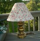 VINTAGE HEAVY BRASS LIGHT TABLE LAMP WITH ROSE SHADE