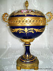ANTIQUE FRENCH SEVRES HP PORCELAIN GILT BRONZE CENTERPIECE BOWL ARTIST SIGND 19C