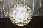 Antique Reticulated Hand Painted Cabinet Plate Purple Flowers Gilt Encrusted Rim