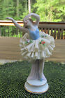 ANTIQUE GERMAN SITZENDORF BALLERINA DANCER BLUE DRESDEN LACE PORCELAIN FIGURINE