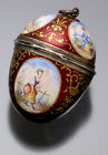 Rare Verge Fusee French 6 Scene Enamel and Silver Egg Shaped Pendant Watch C1750
