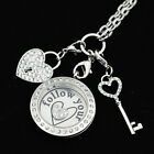 Large Living Locket Floating Charm Rolo Chain Key Dangle Follow Your Heart Plate