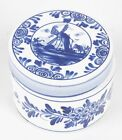 VINTAGE DELFTWARE HAND-PAINTED ROUND COVERED BOX BY ELESVA AMSTERDAM