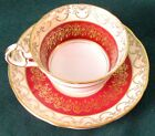 Royal Stafford Vintage Fancy Red Fine Bone China Cup And Saucer