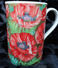 DUNOON OF SCOTLAND 6 TEA / COFFEE MUGS, ORIENTAL POPPIES WITH GOLD TRIM