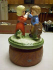 VINTAGE 1950's GIRL & BOY PETTING A DUCK MUSIC BOX JAPAN WORKS