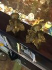 Vintage Antique Pair Brass Floral Wall Candle Flowers Leaves Sconces