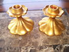 Rare Vintage Pair of Freeman-McFarlin Anthony Gold Leaf Candlestick Holders #552