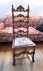 American Oak Baroque Revival Chair Needlepoint 1800s