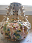RARE OLD VINTAGE HAND MADE/PAINTED ANGEL PUTTI CHERUBS ITALIAN POTTERY LAMP VASE