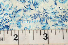Blue Flowers on Cream Cotton Calico Fabric Remnent 44