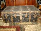 Antique Wood & Leather steamer trunk, J.H. McNamara Trunk Works, Chicago