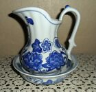ELEGANT BLUE TRANSFERWEAR FLORAL WASH BASIN AND PITCHER, NUMBERED