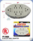 6 OUTLET WALL ADAPTER ELECTRIC WALLMOUNT TAP POWER UL LISTED