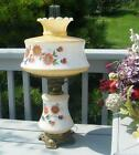 VINTAGE HAND PAINTED ORANGE YELLOW FLOWER FLORAL GWTW GLASS GONE WIND LAMP LIGHT