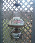 ANTIQUE VICTORIAN 1880 HANGING HAND PAINTED FLOWERS GLASS & BRASS OIL LAMP LIGHT