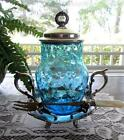 Antique PICKLE CASTOR - BLUE Honeycomb Jar Enamel - BENEDICT Quadruple SP Frame
