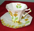 Melba Authentic Art Deco HAND PAINTED YELLOW PRIMROSE Bone China Cup & Saucer