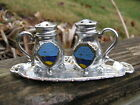 HAWAII SILVER MINI TEAPOTS ON TRAY SALT PEPPER SHAKERS WITH TRAY VTG JAPAN