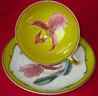 SUSIE COOPER Outstanding Hand Painted Orchid on Yellow Cup & Saucer 1950s MINT