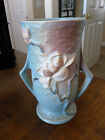 Roseville Magnolia Blue - Footed Two Handle Vase - 89 - 7 3/8