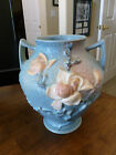 Roseville Magnolia Blue - Footed Two Handle Vase - 92 - 8.5