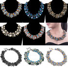 Charm Vintage Golden Chain Colorized Glass Crystal Choker Statement Bib Necklace