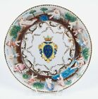 VINTAGE HAND-PAINTED CAPODIMONTE ARMORIAL CERAMIC PLATE WITH RAISED FIGURES