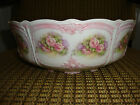 TIRSCHENREUTH BARONESSE WHITE W/PINK TRIM/HAND PAINTED ROSES CHINA SERVING BOWL