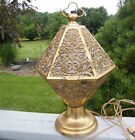 ANTIQUE ORNATE BRASS  FABRIC ART DECO NOUVEAU ERA HOLLYWOOD REGENCY TABLE LAMP