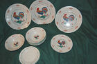 GIBSON VINTAGE Rooster Pattern 3 Dinner 6 Bowls 1 Salad 2 Saucers China Plates