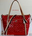 New COACH Peyton SC Embossed Patent Pocket Tote Handbag–F26922 Silver/Red/Tan