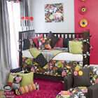 Baby Girl Pink Green Black Gray Floral Tropical Crib Nursery Quilt Bedding Set